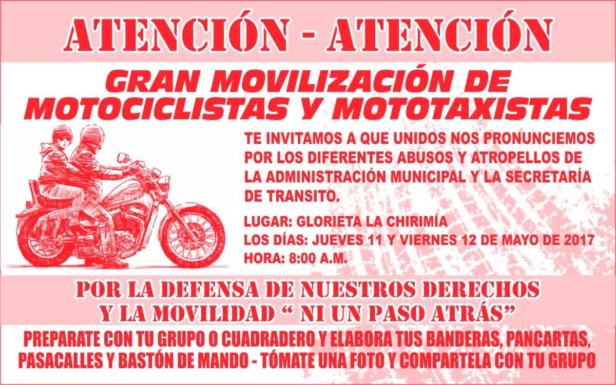 Motociclistas y Mototrabajadores preparan movilización contra las medidas de la administración local