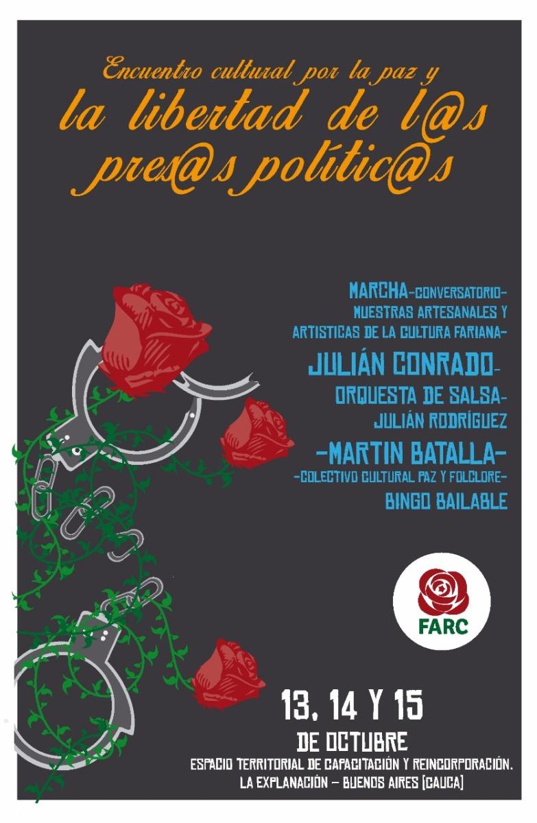 FARC convocan gran encuentro cultural por la paz y la libertad de l@s Prisiner@s políticos
